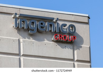 Mississauga, Ontario, Canada - August 25, 2018: Sign of Ingenico Group on the Ingenico Group canada head office in Mississauga, Ontario, Canada, the global leader in seamless payment.