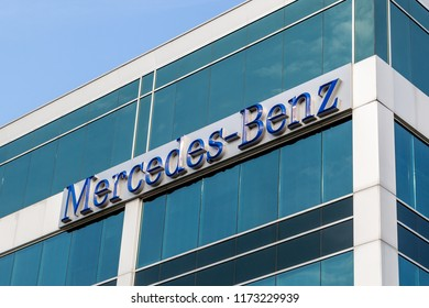 Mississauga, Ontario, Canada - August 25, 2018: Mercedes-Benz  sign on the office building of Mercedes-Benz Financial Services Canada in Mississauga, a division of the German company Daimler AG.