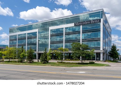 Mississauga, Ontario, Canada - August 25, 2018: Mercedes-Benz Financial Services Canada corporate office building in Mississauga, a division of the German company Daimler AG.