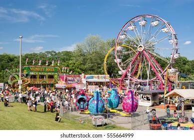 MISSISSAUGA, ONTARIO, CANADA - CIRCA JUNE 2012: A carnival at the Bread and Honey Festival circa June 2012. This annual event originated in 1973.