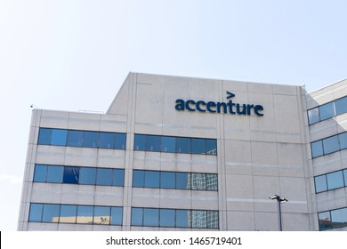 Mississauga, Ontario, Canada - July 14, 2019:  Accenture building in Mississauga, Ontario, Canada, a professional company provides services in strategy, consulting, digital, technology and operations.