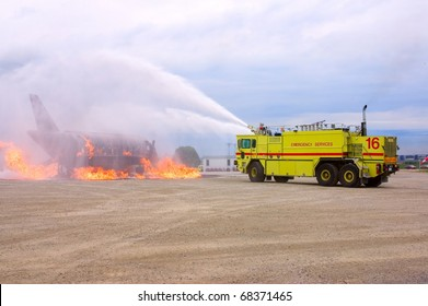 MISSISSAUGA, ONTARIO, CANADA - JULY 14: Fire and Emergency Services Training Institute (FESTI) fire truck fights a burning plane on July 14, 2007 in Mississauga, Canada.