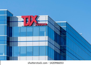 Mississauga, Ontario, Canada - June 07, 2019: Sign of TJX Canada at Corporate office in Mississauga, Ontario, Canada. The TJX Companies, Inc. is an American off-price department store corporation.