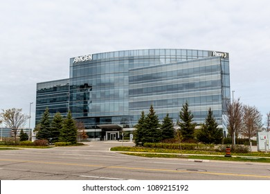 Mississauga, Ontario, Canada- May 12th, 2018: sign of the Amgen on the building. Amgen Inc. is an American multinational biopharmaceutical company,  the world's largest independent  biotechnology firm