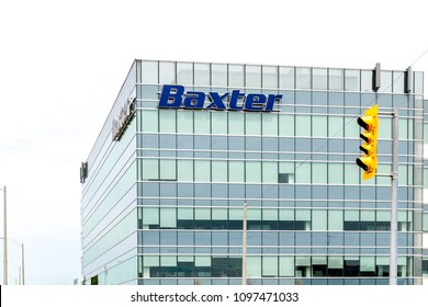 Mississauga, Ontario, Canada- May 12th, 2018: Baxter sign on the building in Mississauga, Ontario. Baxter International Inc. is a Fortune 500 American health care company.