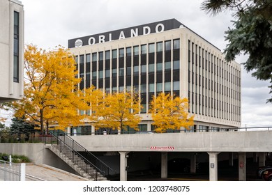 Mississauga, Ontario, Canada - October 13, 2018: Sign of Orlando Corporation on the head office building in Mississauga, Canada's largest privately-owned industrial real estate developer and landlord.
