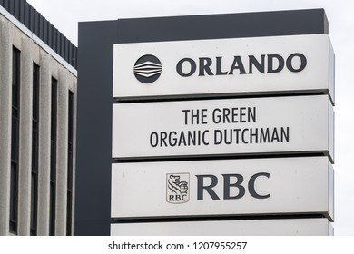 Mississauga, Ontario, Canada - October 13, 2018: The sign of Green Organic Dutchman at headquarters in Mississauga, a cannabis industry company.
