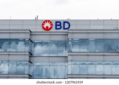Mississauga, Ontario, Canada- October 20, 2018: sign of BD on the Canada head office building in Mississauga, Ontario. Becton, Dickinson and Company (BD) is an American medical technology company.