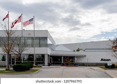 Mississauga, Ontario, Canada- October 20, 2018: Alcon building in Mississauga. Alcon is a global medical company specializing in eye care products.