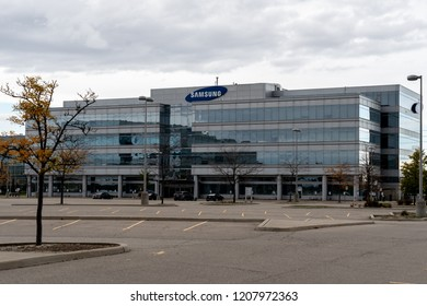 Mississauga, Ontario, Canada- October 20, 2018: Building of Samsung in Mississauga, Ontario. Samsung Group is a South Korean multinational conglomerate.