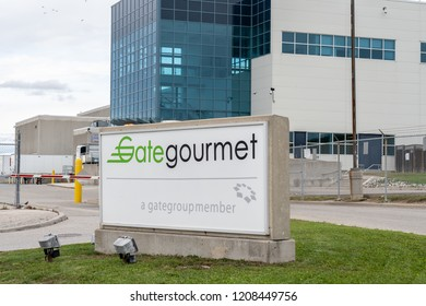 Mississauga, Ontario, Canada- October 20, 2018: Sign of Gate Gourmet Canada in Mississauga, the world's largest airline catering, hospitality and logistics company with headquarters in Switzerland,