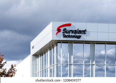 Mississauga, Ontario, Canada- October 20, 2018: Sign of Skyservice in Mississauga. Skyservice Airlines Inc. flew within Canada and to the U.S., Caribbean, Mexico, Israel and Europe.