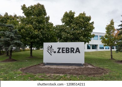 Mississauga, Ontario, Canada- October 20, 2018: Sign of Zebra Technologies Canada in Mississauga, Ontario, a American company sells marking, tracking and computer printing technologies.