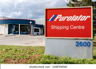 Mississauga, Ontario, Canada- October 20, 2018: Sign of Purolator shipping center in Mississauga, Purolator Inc. is a Canadian courier.