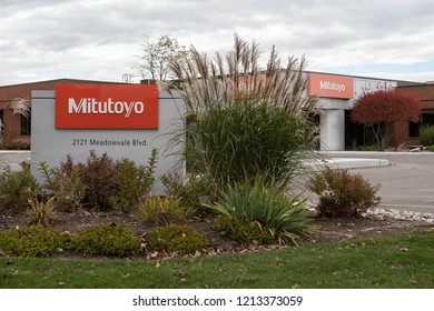 Mississauga, Ontario, Canada- October 20, 2018: Sign of Mitutoyo Canada in Mississauga, a Japanese multinational corporation specializing in measuring instruments and metrological technology.
