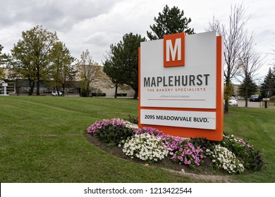 Mississauga, Ontario, Canada- October 20, 2018: Sign of Maplehurst in Mississauga, a manufacturer of frozen baked products bread, rolls, pies, cookies, cakes, donuts and other sweet goods.