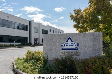 Mississauga, Ontario, Canada- October 20, 2018: Sign of Cyclone on the Mississauga operations Ontario,  an Aircraft manufacturer.