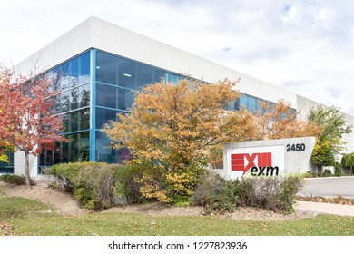 Mississauga, Ontario, Canada- October 20, 2018: Sign of EXM Manufacturing Ltd. in Mississauga, Ontario. EXM  is an Canadian company specializing in custom enclosures.