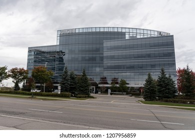 Mississauga, Ontario, Canada- October 20th, 2018: Buil of the Amgen on the building. Amgen Inc. is an American multinational biopharmaceutical company,  the world's largest independent  biotechnology