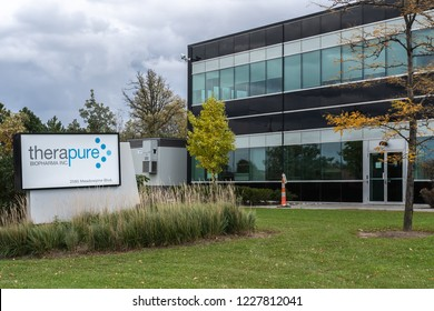 Mississauga, Ontario, Canada- Octorber 20, 2018: Sign of Therapure BioPharma, Inc., a Canadian biopharmaceutical industry and biotechnology company headquartered in Mississauga, Ontario,