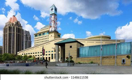 MISSISSAUGA, ONTARIO/CANADA- AUGUST 1, 2018: The Mississauga Civic Center in Mississauga, Canada