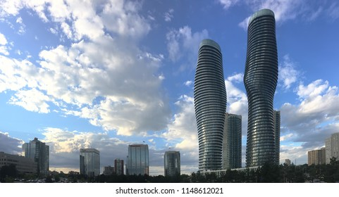MISSISSAUGA, ONTARIO/CANADA- AUGUST 1, 2018: The Absolute World Condominiums, Mississauga, Canada