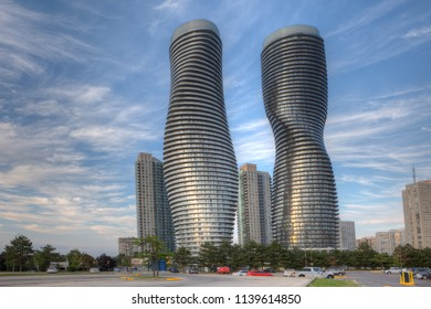 MISSISSAUGA, ONTARIO/CANADA- JULY 21, 2018: The Absolute World, futuristic condominiums found in Mississauga, Canada