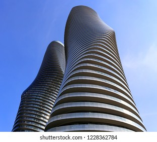 MISSISSAUGA, ONTARIO/CANADA- May 26, 2018: The Absolute World Condominiums, Mississauga, Canada. Winning design is from M.A.D. architects of Beijing.