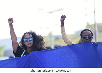 MISSISSAUGA-AUGUST 25: People chanting slogans to  protest the death of Abdirahman Abdi-a Somali-Canadian killed by Ottawa Police on August 25 2016 in Mississauga,Canada.