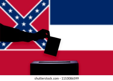 Mississippi flag with ballot box during elections / referendum