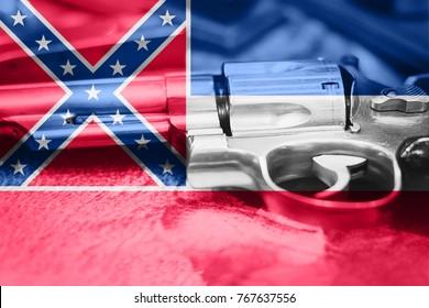 Mississippi flag (U.S. state) Gun Control USA. United States Gun Laws.