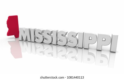 Mississippi MS Red State Map Word 3d Illustration
