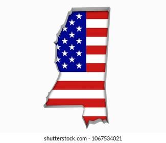 Mississippi MS USA Flag Stars Stripes Map 3d Illustration