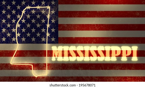 mississippi neon shining outline map of the on national flag backdrop
