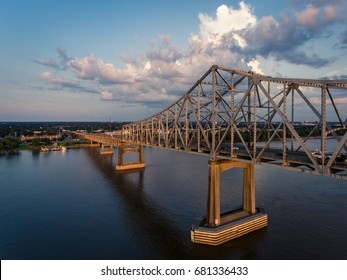 Mississippi River Bridge Sunset