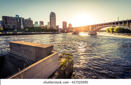 The Mississippi River and the Central Avenue Bridge in Minneapolis