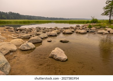 Mississippi River Headwaters with a smokey haze from wildfires.