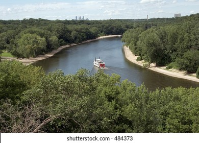 Mississippi River with Minneapolis skyline, seen from historic Fort Snelling