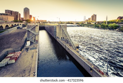 The Mississippi River, St Anthony Falls and its lock and dam in Minneapolis