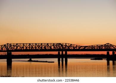 Mississippi river under old bridge in Memphis, TN