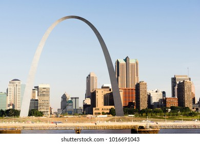 The Mississippi River waterfront and the Gateway Arch in St Louis Missourri