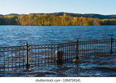 mississippi river and wooded banks from st feriole island during autumn flood in prairie du chien wisconsin