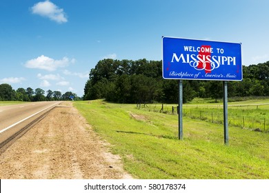 Mississippi State welcome sign along the US Highway 61 in the USA; Concept for travel in America and Road Trip in America