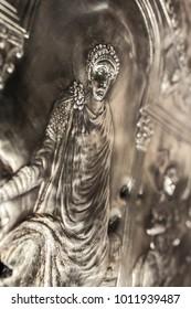 Missorium of Theodosius I enthroned. Replica piece of ceremonial silver dish found in Almendralejo, Badajoz, Spain. Emperor detail