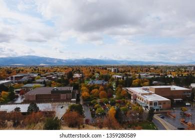 Missoula City view and University of Montana, USA