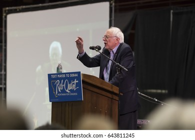 MISSOULA, MONTANA - MAY 20, 2017:  U.S. Senator Bernie Sanders speaks at a rally for U.S. House of Representatives candidate Rob Quist during a campaign stop for the 2017 Montana Special Election.