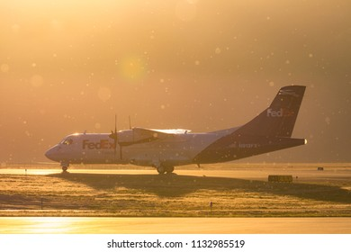 Missoula, Montana/United States - 2017-10-07: A FedEx Feeder Aircraft is Taxing through Missoula International Airport