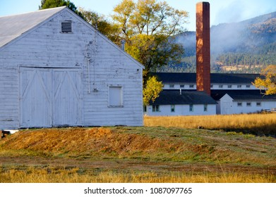 Missoula, Montana/USA- October 21, 2014: A horizontal image of several buildings, and the grounds of, the Fort Missoula historic site.