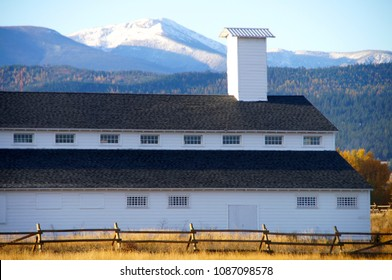 Missoula, Montana/USA- October 21, 2014: A horizontal image of a main building, and the grounds of, the Fort Missoula historic site.
