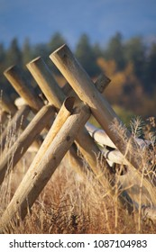 Missoula, Montana/USA- October 21, 2014: A vertical image of unique fencing at the Fort Missoula historic site.